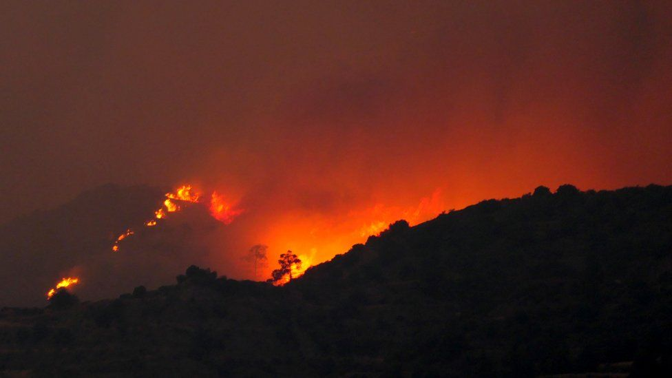 A view of the huge fire on a mountain in Larnaca region, Cyprus, 3 July 2021.