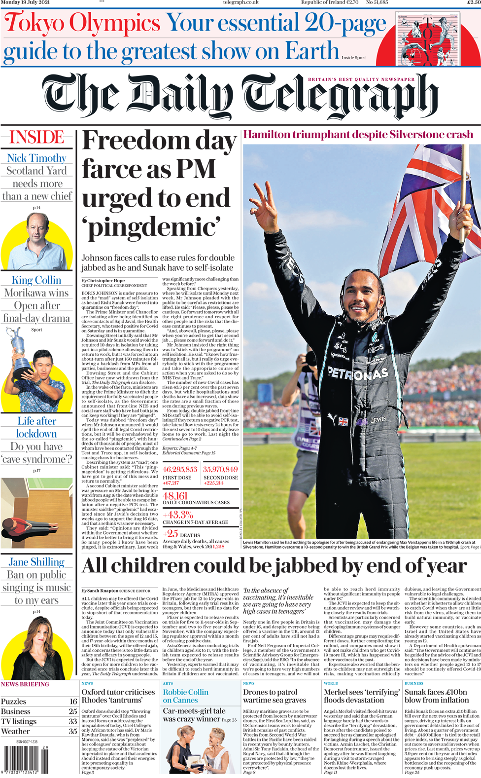 The Daily Telegraph front page 19 July 2021