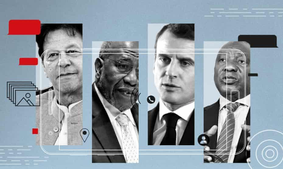 From left, Imran Khan, Ruhakana Rugunda, Emmanuel Macron and Cyril Ramaphosa.