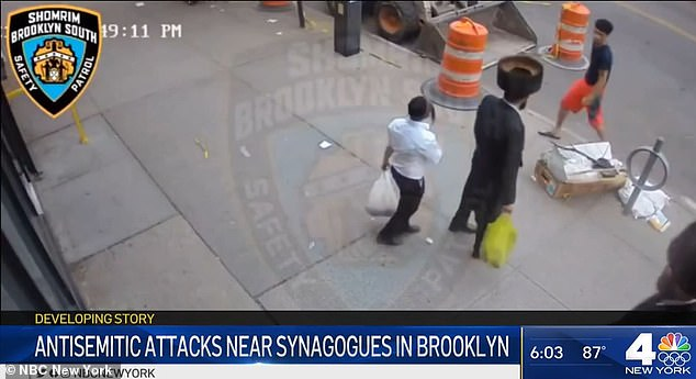 There were two anti-Jewish incidents in Brooklyn this weekend. This image is a still from surveillance camera footage of the second one, which saw three men shout at Jews walking by a synagogue