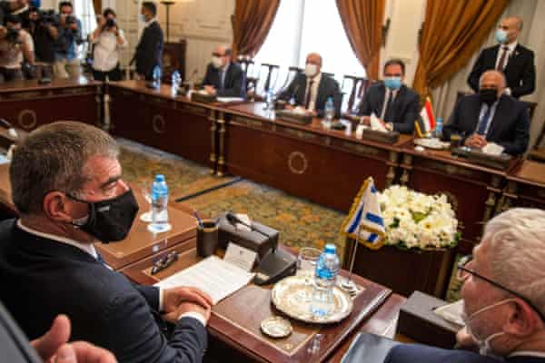 Gabi Ashkenazi, left, Israel's foreign minister, at a meeting with his Egyptian counterpart, Sameh Shoukry