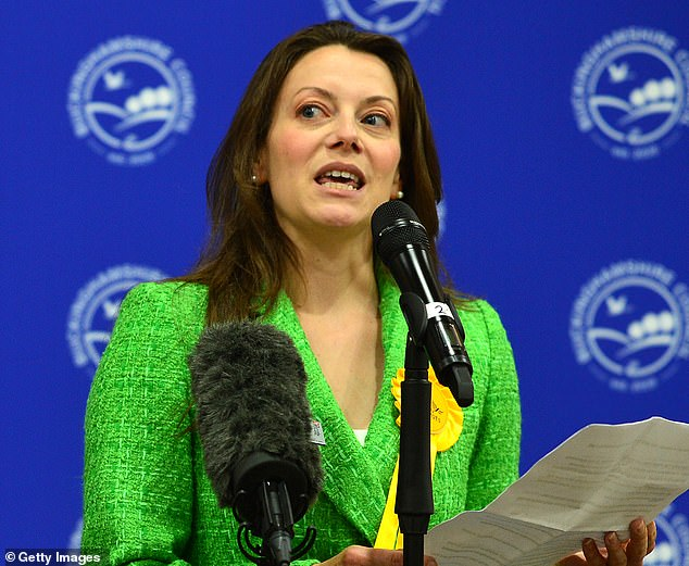 Voters in the Buckinghamshire market town awoke on Friday morning to news the Liberal Democrats had inflicted a shock by-election defeat on the Tories in what was a Conservative stronghold for decades. Pictured, Sarah Green