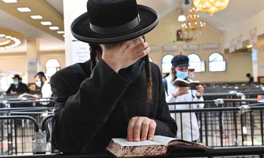 Hasidic Jews visiting the tomb of Rabbi Nachman, the founder of the Breslov Hasidic movement, in Uman