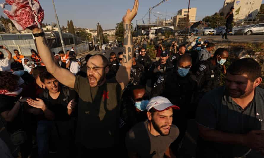 Israeli police intervene as demonstrators gather in Sheikh Jarrah.