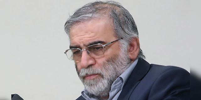 In this picture released by the official website of the office of the Iranian supreme leader, Mohsen Fakhrizadeh sits in a meeting with Supreme Leader Ayatollah Ali Khamenei in Tehran, Iran, Jan. 23, 2019. Fakhrizadeh, an Iranian scientist that Israel alleged led the Islamic Republic's military nuclear program until its disbanding in the early 2000s was killed in a targeted attack that saw gunmen use explosives and machine gun fire Friday Nov. 27, 2020, state television said. Two others are unidentified. (Office of the Iranian Supreme Leader via AP)