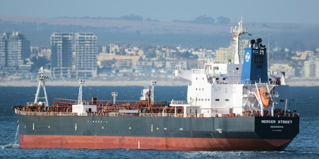This Jan. 2, 2016 photo shows the Liberian-flagged oil tanker Mercer Street off Cape Town, South Africa. The oil tanker linked to an Israeli billionaire reportedly came under attack off the coast of Oman in the Arabian Sea, authorities said Friday, July 30, 2021, as details about the incident remained few.