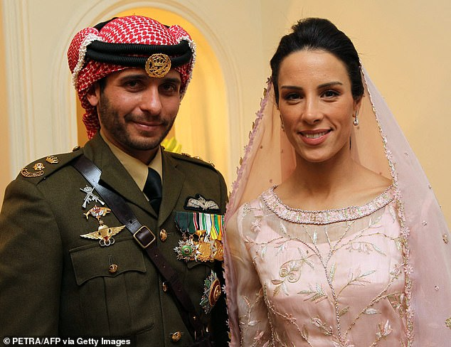 He said he had been isolated inside his home with his Canadian wife Princess Basmah Bani Ahmad and their five young children. Pictured on their wedding day in 2012
