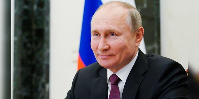 Russian President Vladimir Putin attends a meeting via video conference, at the Kremlin in Moscow, Russia, Thursday, March 25, 2021. (Alexei Druzhinin, Sputnik, Kremlin Pool Photo via AP)